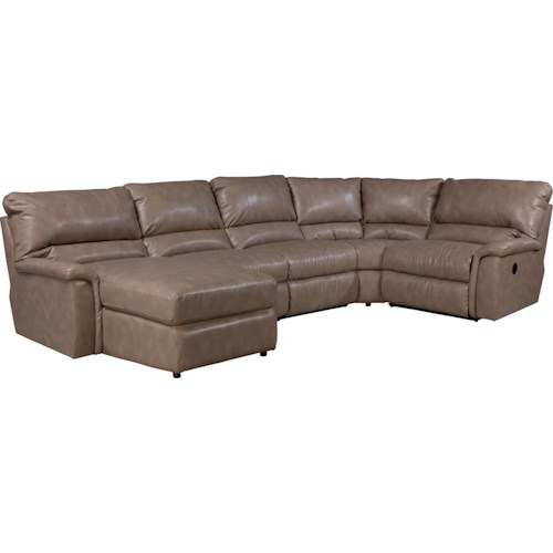 La z boy aspen five piece reclining sectional sofa with for 5 piece reclining sectional sofa