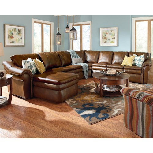 La Z Boy Devon 5 Piece Power Reclining Sectional With Ras Chaise And 2 Recliners Boulevard