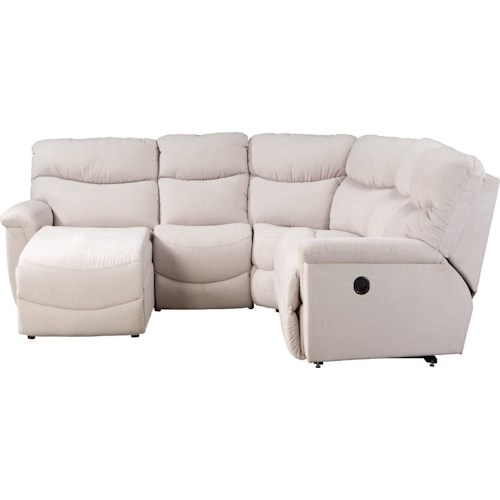 La z boy james four piece reclining sectional sofa with for Furniture 0 down