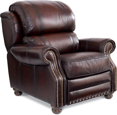 La z boy jamison traditional high leg leather recliner for Furniture 0 percent financing