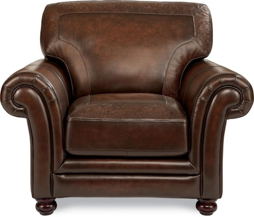 La z boy william traditional stationary chair with tooled for Furniture 0 percent financing