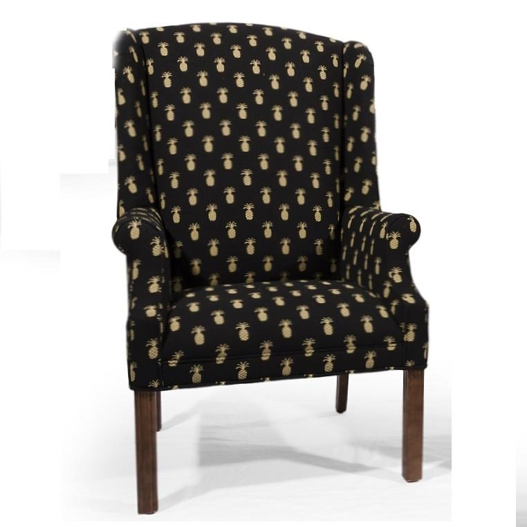 Lancer Homespun Wing Back Chair With Chippendale Legs