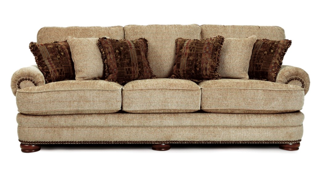 Lovely Lane Stanton - Lane Stationary Sofa with Nailhead Trim and Wood  UH86