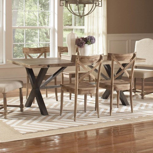 Largo callista rustic casual rectangular trestle table for Dining room tables jacksonville nc