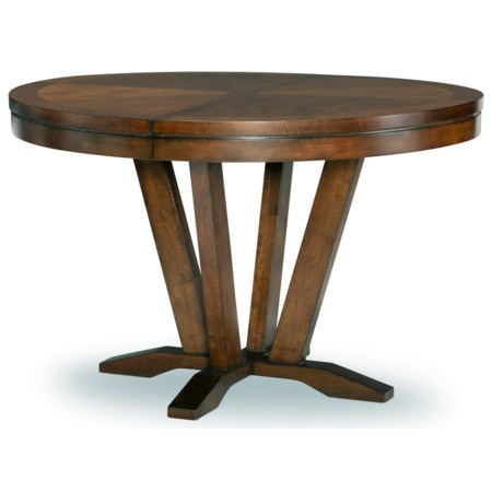 """Transitional Round Pedestal Table with 1 18"""" Leaf"""