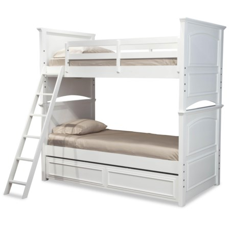 Classic Twin-over-Full Size Bunk Bed with Trundle Drawer