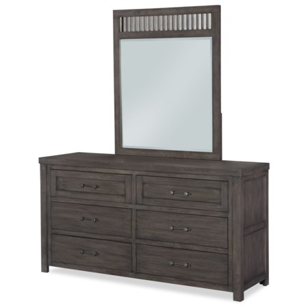 Rustic Casual Dresser and Mirror with Barn Door Style Sides