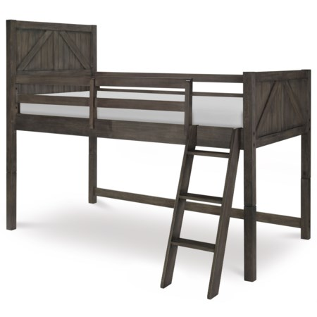 Rustic Casual Twin Mid Loft Bed with Ladder and Guard Rails