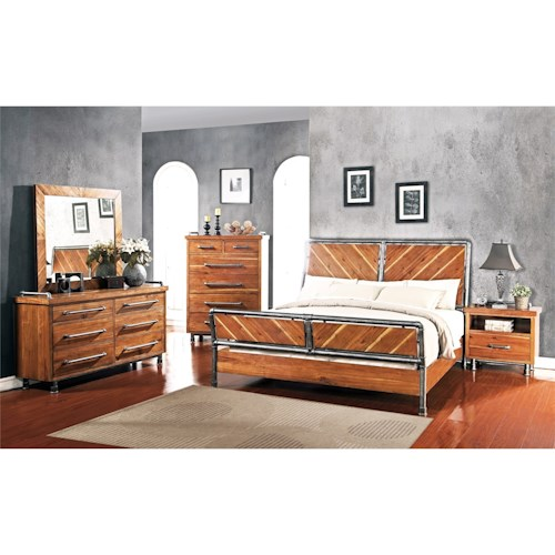 Legends furniture steampunk collection queen bedroom group for Bedroom furniture groups