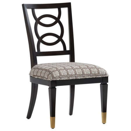 Pierce Side Chair with Ring Splat Back and Upholstered Seat, Customizable Fabric