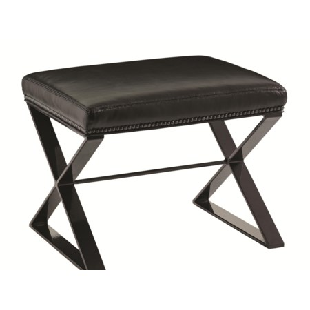 Lola Bench with Contemporary Metal Base and Nailhead Trim