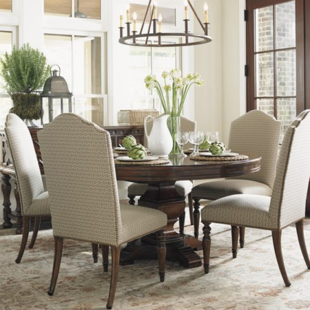Six Piece Dining Set with Round Table and Upholstered Hostess Chairs