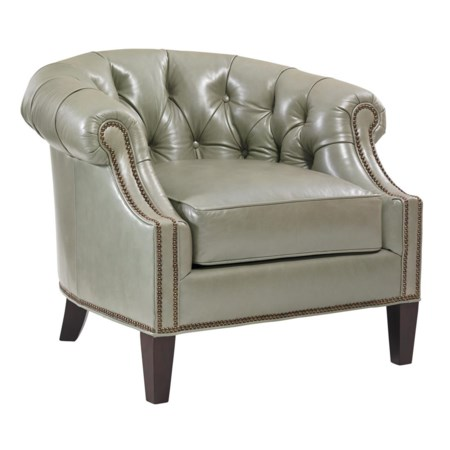 Transitional Kendrick Button-Tufted Club Chair with Nailheads