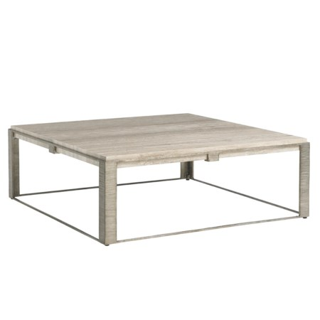 Stone Canyon Cocktail Table with Silver Travertine Top