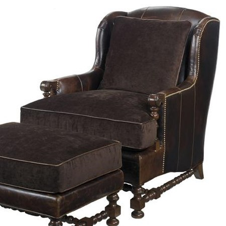 Bradbury Chair with Wing Back and Turned Legs