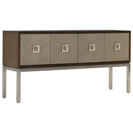 Glenroy Sideboard with Faux Shagreen Panels and Felt-Lined Silverware Drawer