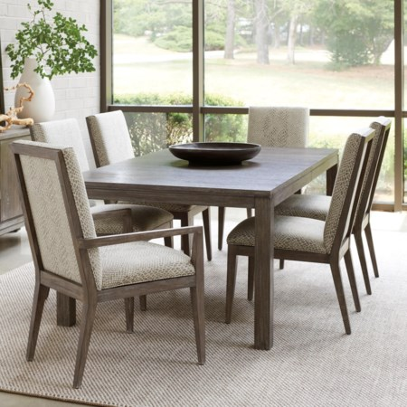 Seven Piece Dining Set with Marin Table and Customizable Dining Chairs
