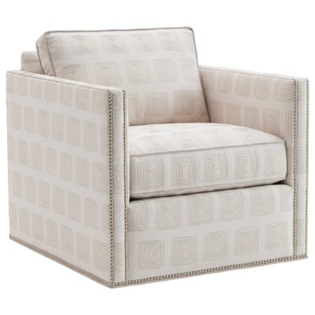 Hinsdale Swivel Chair with Nailhead Border