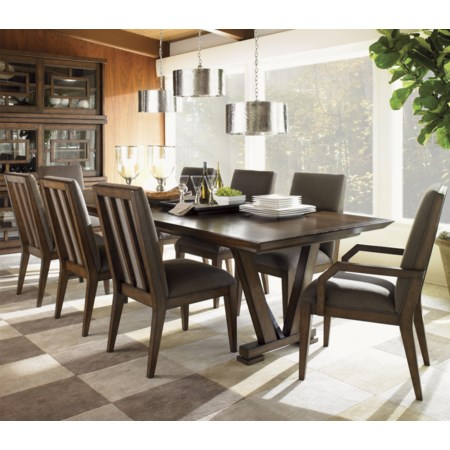 Nine Piece Pinnacle Dining Table and Innova Dining Chairs Set