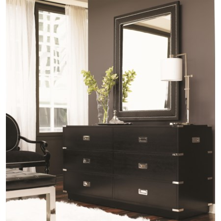 Six-Drawer Topaz Dresser & Saddle Stitched Quartz Mirror Combination