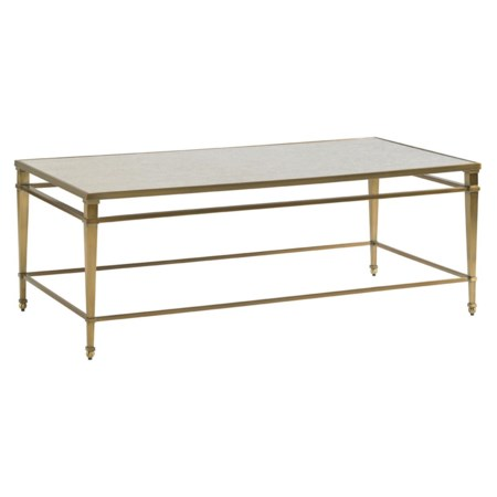 Transitional Millington Metal Cocktail Table with  Burnished Brass Finish and Antiqued Mirror Top