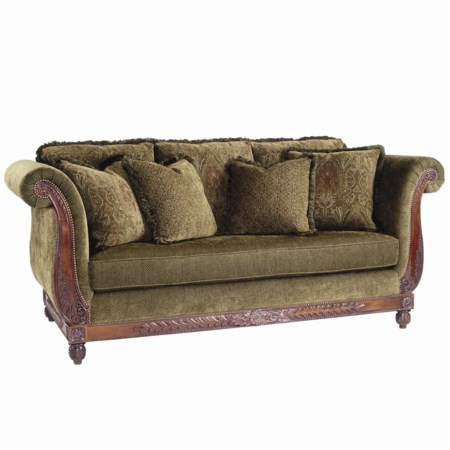 Danbury Upholstered Sofa with Carved Wood Details