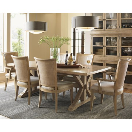 Seven-Piece Walnut Creek Dining Table and Los Altos Chairs Set