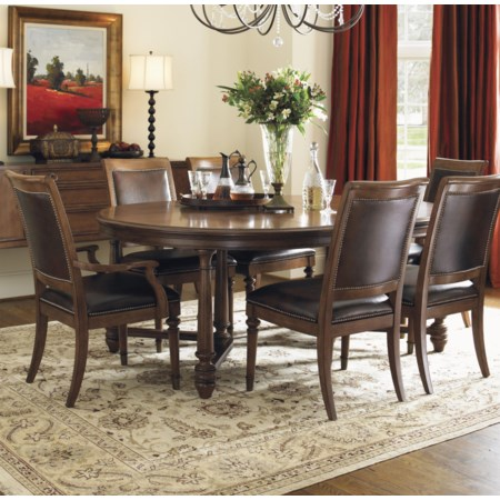 Seven-Piece Salem Round Leg Dining Table & Columbia Leather-Upholstered Chairs with Decorative Nailhead Trim Set