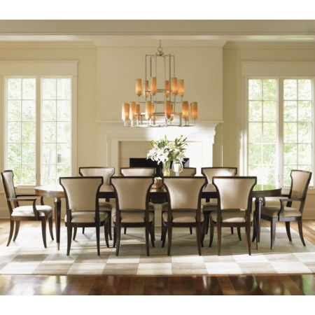 11 Piece Formal Dining Set with Seneca Married Fabric Sidechairs