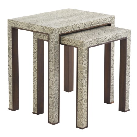 Contemporary Adler Nesting Tables with Python Embossed Leather