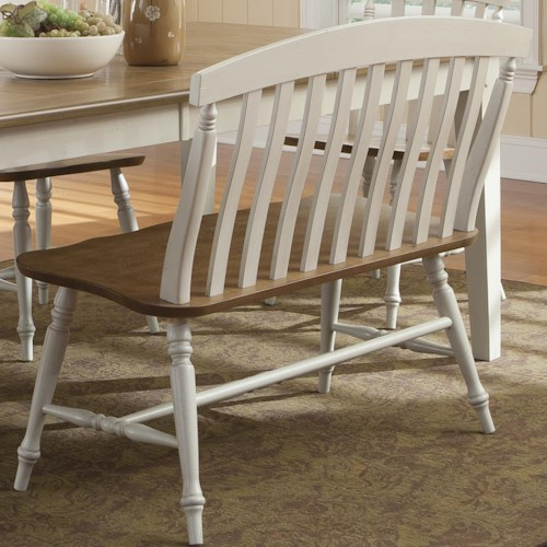 Liberty furniture al fresco iii 841 c9000b slat back bench for Furniture 0 percent financing