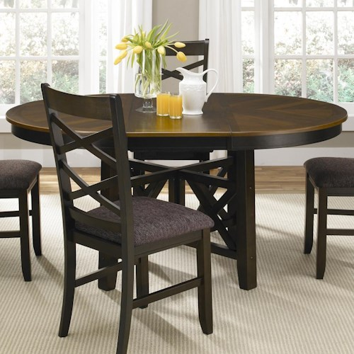Colby round to oval single pedestal dining table with 18 for Round table with butterfly leaf