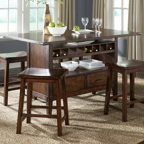 Liberty furniture cabin fever center island pub table for Dining at at t center