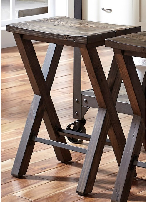 Causeway Industrial Counter Height Stool With Reclaimed Pine Rotmans Bar Stools Worcester