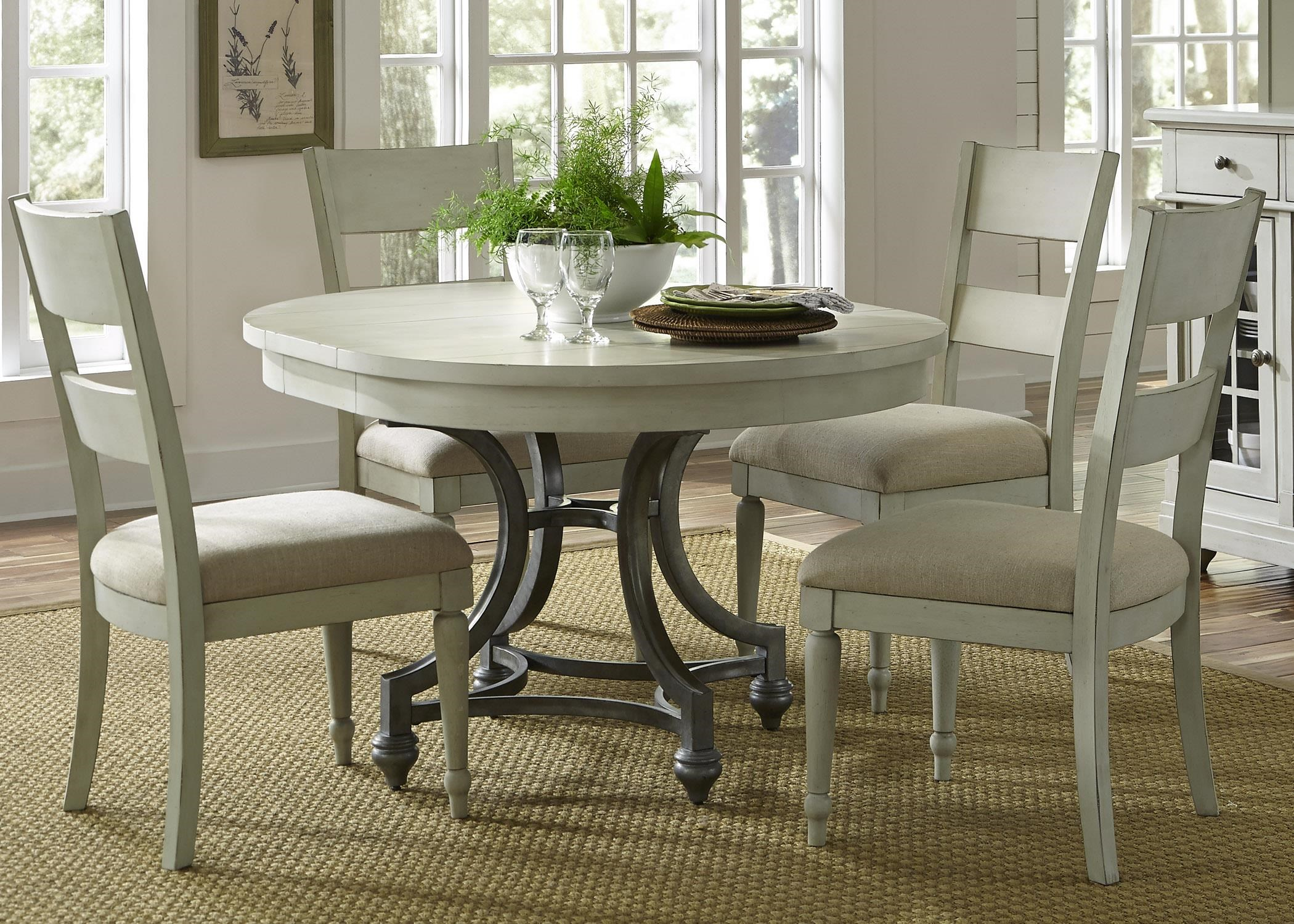 Liberty Furniture Harbor View Round Table with 4 Slat Back