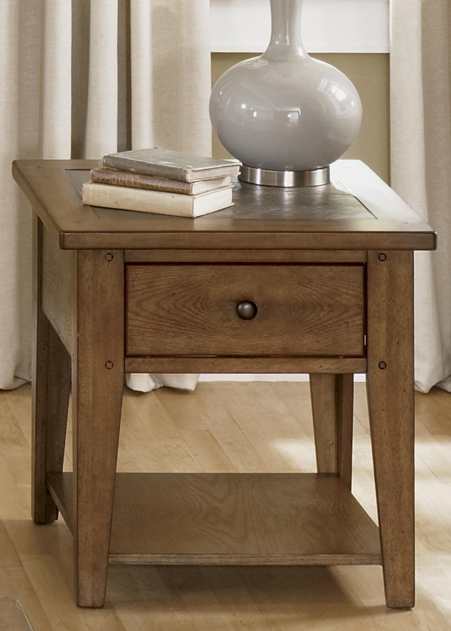 Bunker Hill Single Drawer End Table with Slate Top