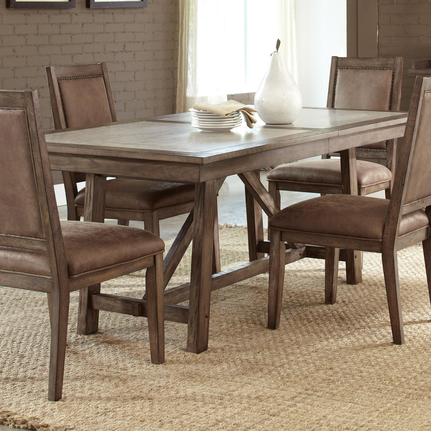 liberty furniture stone brook casual cement top trestle table kitchen plans set island