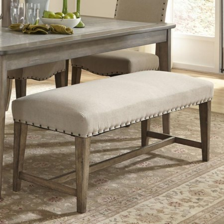 Rustic Casual Upholstered Bench with Nail Head Trim