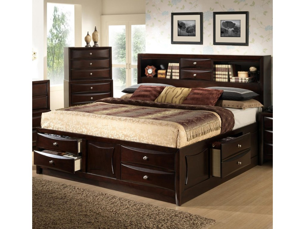king storage bed with bookcase headboard full size bed. Black Bedroom Furniture Sets. Home Design Ideas