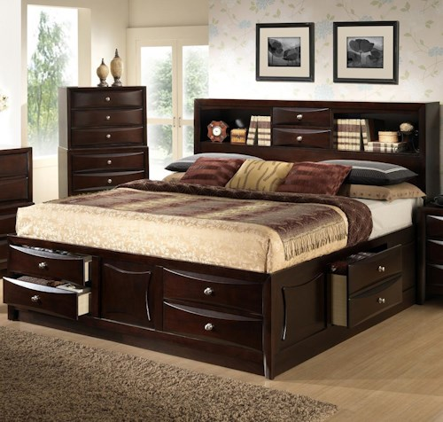 Lifestyle C0172 Queen Storage Bed W Bookcase Headboard