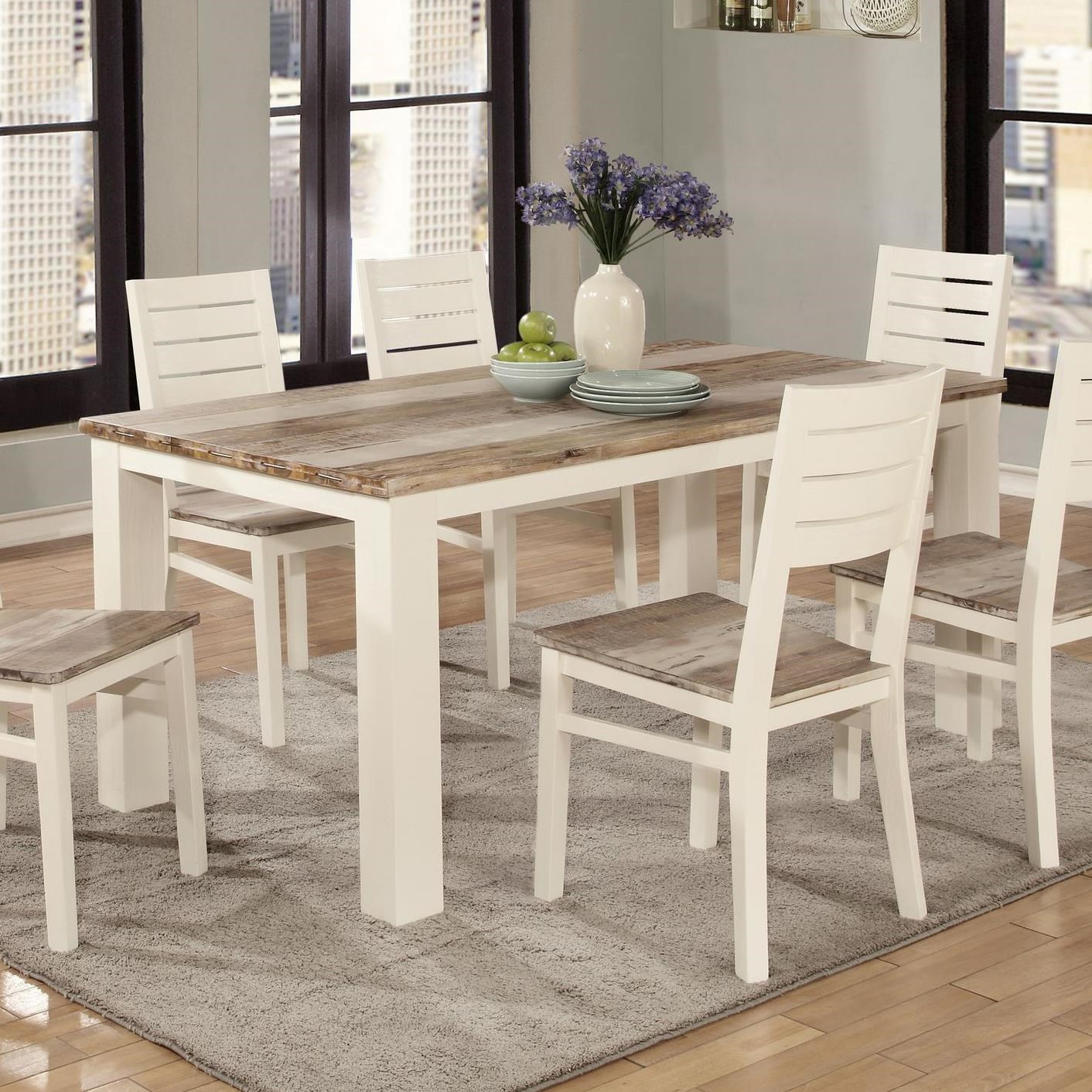 Lifestyle C347 Two Tone Wood Finish Rectangle Dining Table ...
