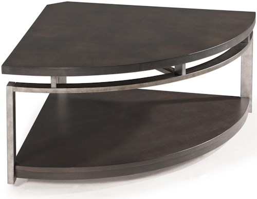 Magnussen home alton contemporary pie shaped cocktail table with casters pilgrim furniture Pie shaped coffee table
