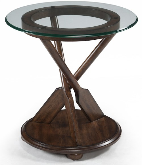 Magnussen home beaufort round end table with three oar pedestal and tempered glass top pilgrim Home furniture rental beaufort