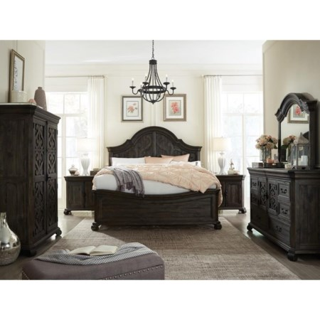 Bedroom Group with Curved California King Bed and Mirror