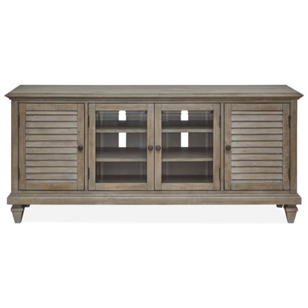 TV Console with Wire Management and Adjustable Shelves
