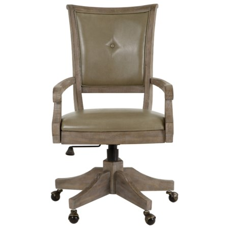 Rustic Upholstered Swivel Chair