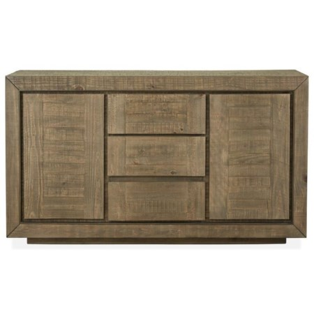 Contemporary Rustic Buffet with Silverware Tray