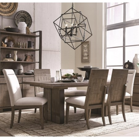 Contemporary Rustic 7 Piece Dining Set with Center Leaf