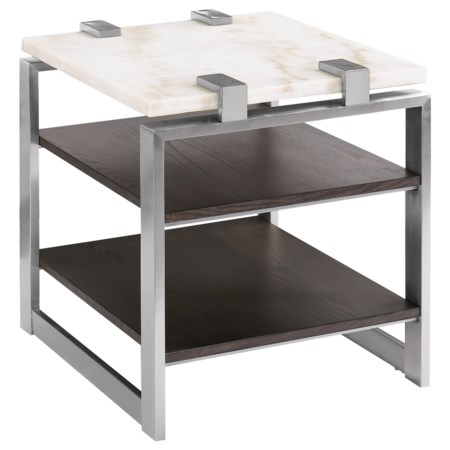 Contemporary Rectangular End Table with Marble Top