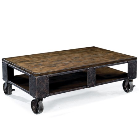Rectangular Cocktail Table with Wheel Feet